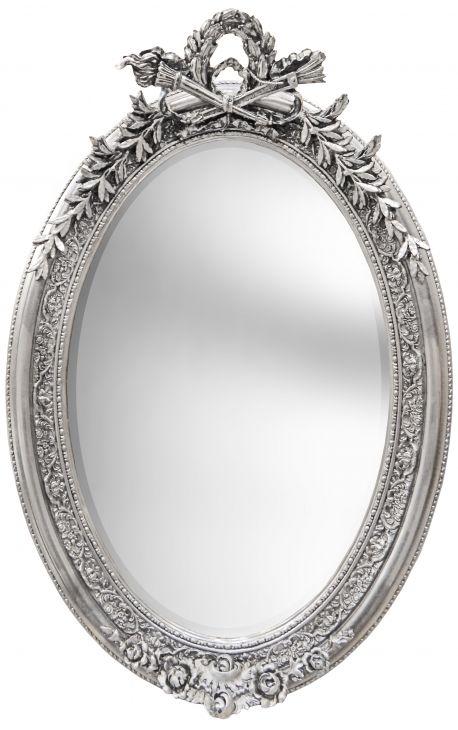 Tr s grand miroir baroque ovale argent vertical for Miroir vertical
