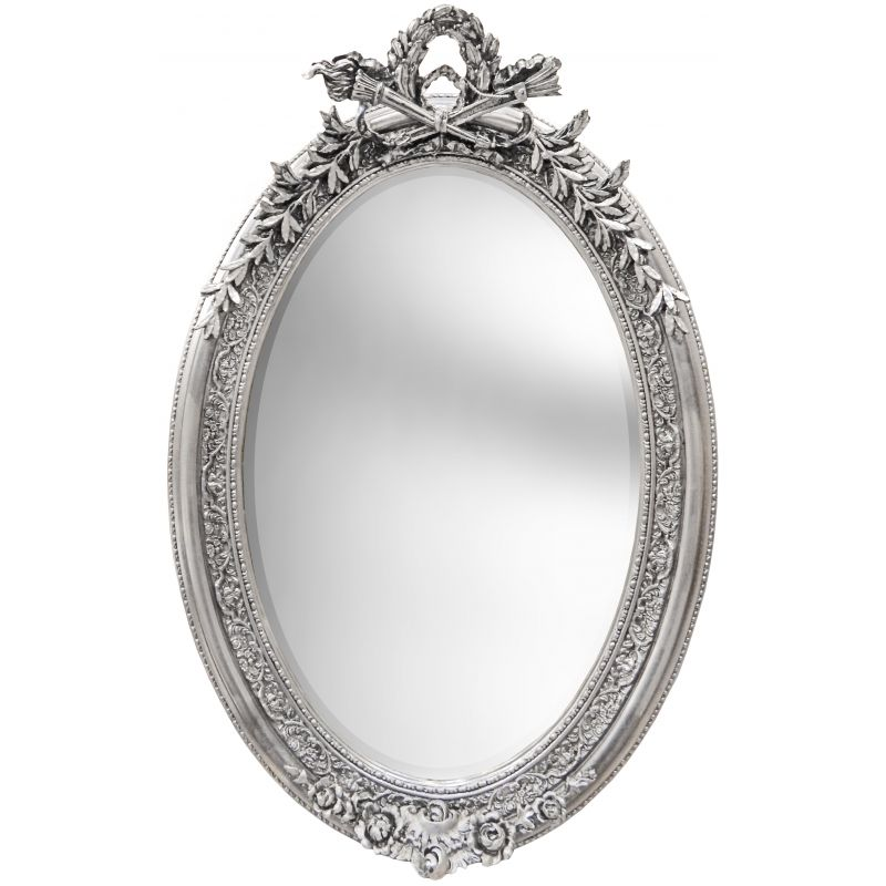 Tr s grand miroir baroque ovale argent vertical for Grand miroir baroque
