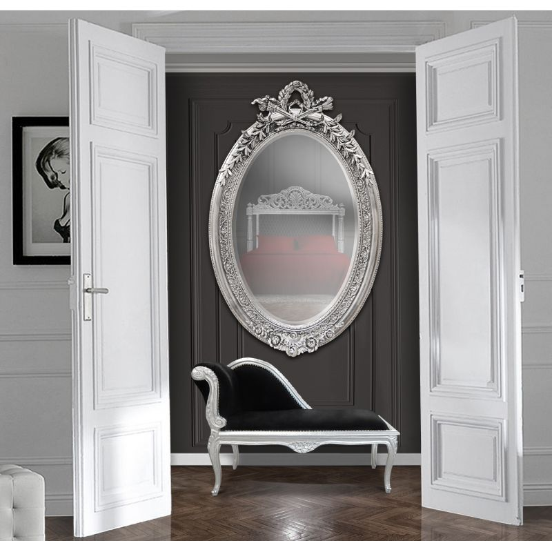 tr s grand miroir baroque ovale argent vertical. Black Bedroom Furniture Sets. Home Design Ideas