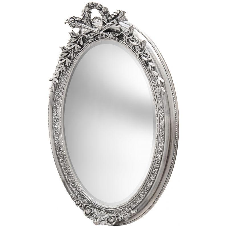 Tr s grand miroir baroque ovale argent vertical for Grand miroir baroque argente