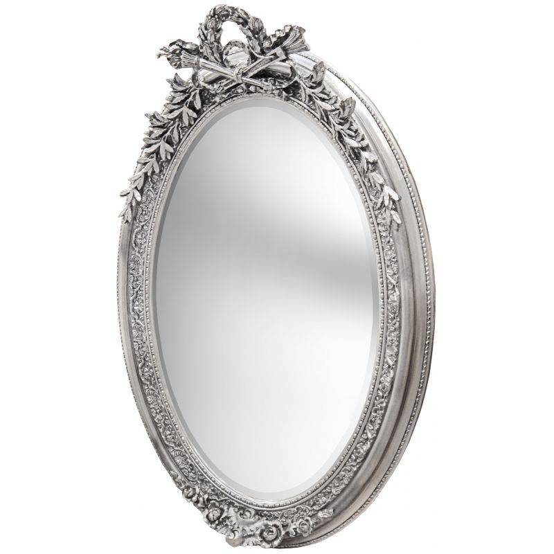 large silver vertical oval baroque mirror