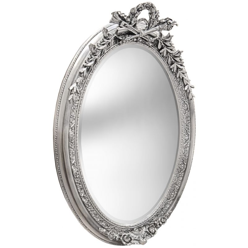 Tr s grand miroir baroque ovale argent vertical for Tres grand miroir