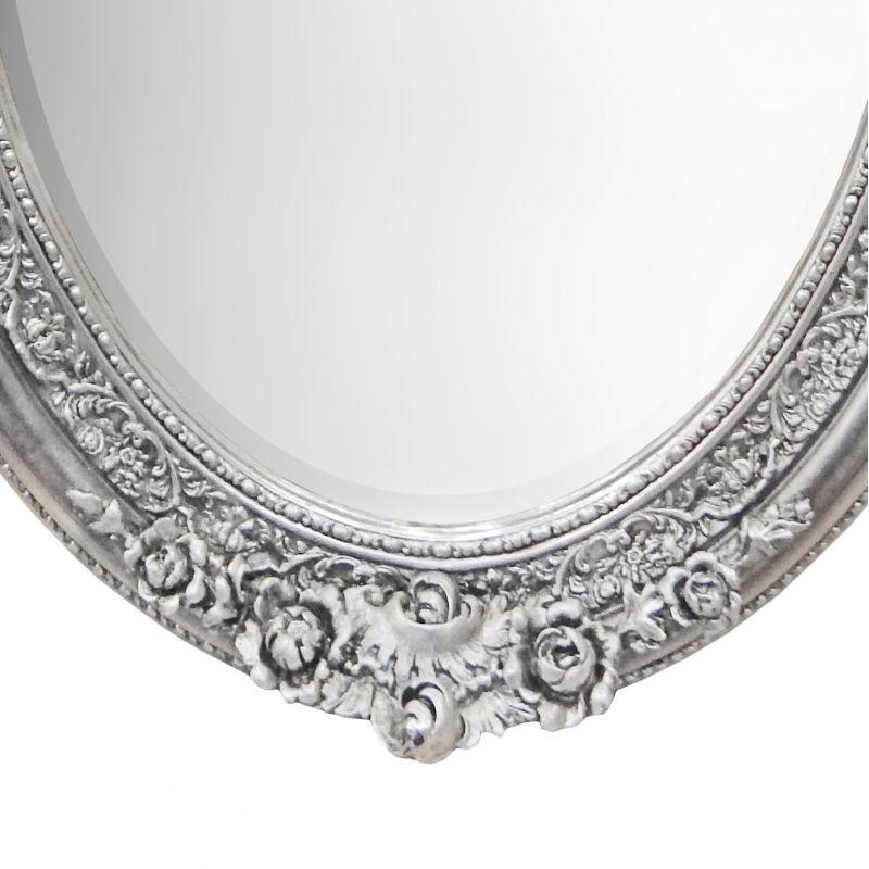 Tr s grand miroir baroque ovale argent vertical for Grand miroir horizontal