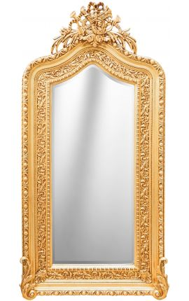 Very large gilded baroque mirror Louis XVI style bicorne