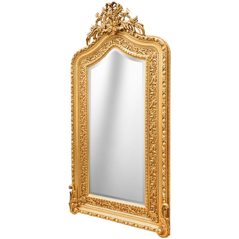 Very large gilded baroque mirror louis xvi style bicorne for Gilded baroque mirror