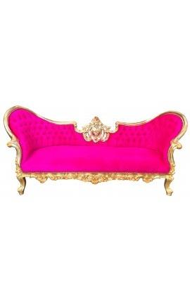 Canapé baroque Napoléon III médaillon tissu velours fuchsia et bois doré