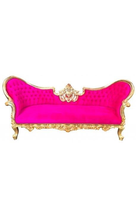 Canapé baroque Napoléon III tissu velours fuchsia et bois doré