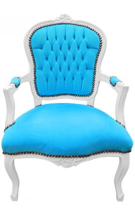 Baroque armchair of Louis XV style turquoise velvet fabric and white wood