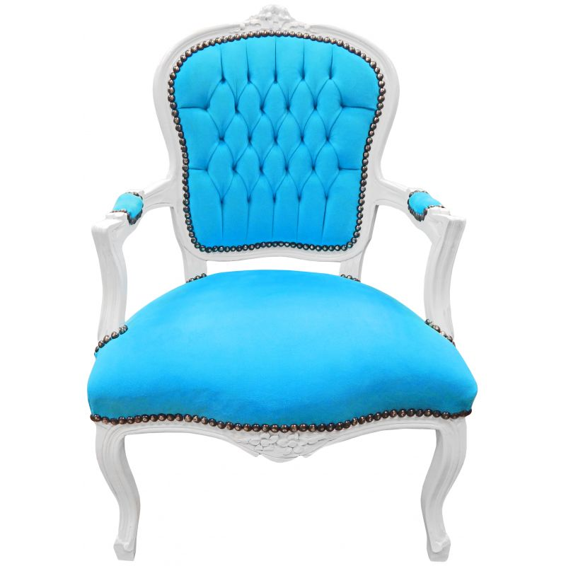 Baroque armchair of Louis XV style turquoise velvet and ...