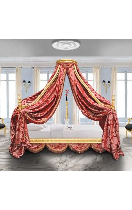 "Baroque canopy bed with gold wood and red ""Gobelins"" satine fabric"