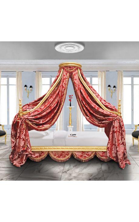 """Барокко кровать с золотой дерева и красной """"Gobelins"""" Сатин ткани"""