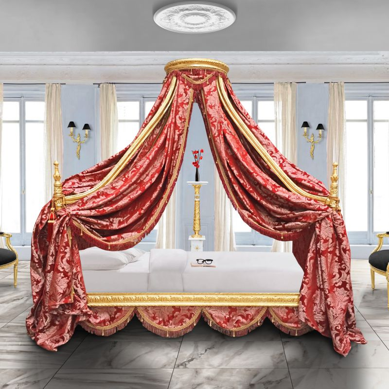 lit baroque royal baldaquin tissu gobelins rouge et bois dor. Black Bedroom Furniture Sets. Home Design Ideas