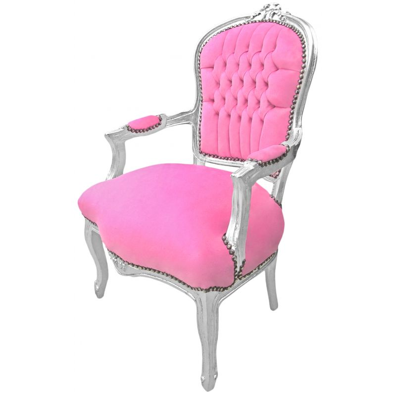 baroque armchair of louis xv style pink rose and silvered wood. Black Bedroom Furniture Sets. Home Design Ideas