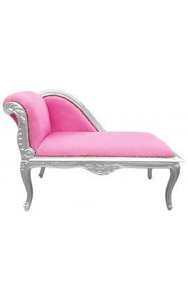 Méridienne de style Louis XV tissu rose et bois argent