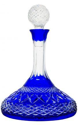 Carafe bleu en cristal taillée à la main