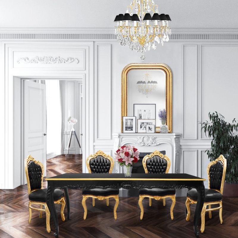 Chaise De Style Baroque Rococo Tissu Simili Cuir Noir Et