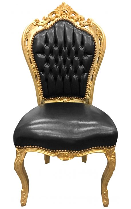 Baroque rococo style chair black leatherette and gold wood