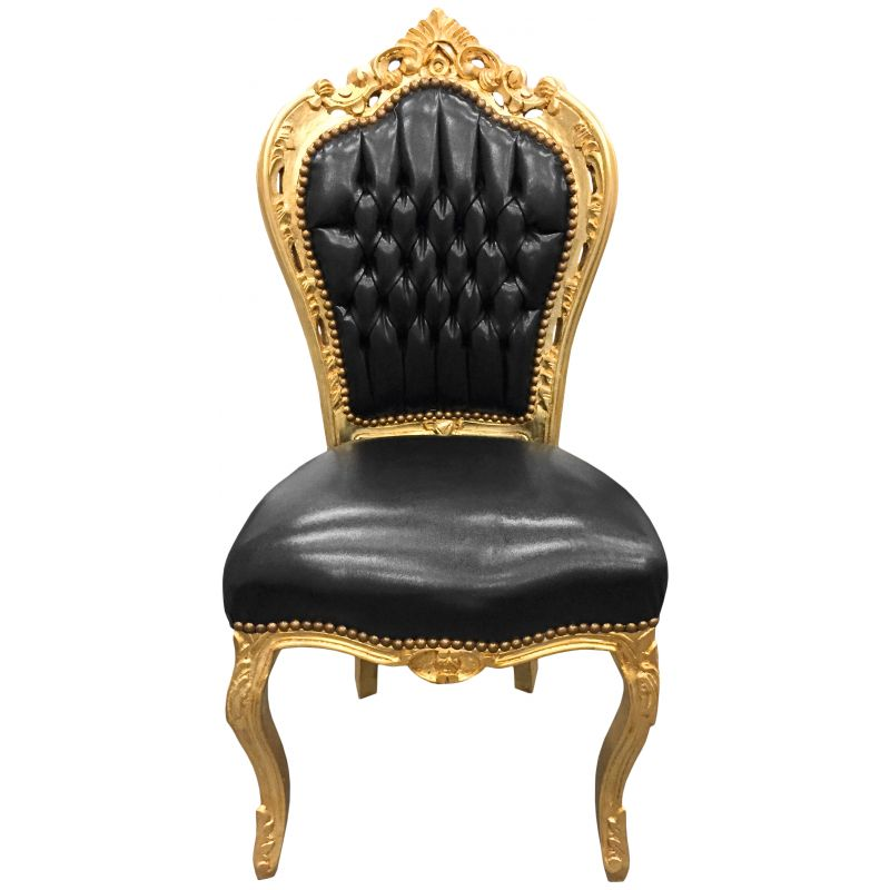 chaise de style baroque rococo tissu simili cuir noir et bois dor. Black Bedroom Furniture Sets. Home Design Ideas