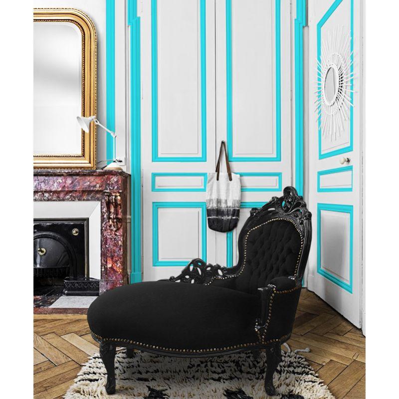 Baroque chaise longue black velvet and black wood - Chaise baroque argentee ...