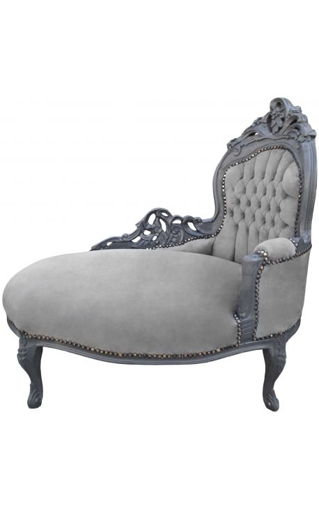 Baroque chaise longue gray velvet with gray wood