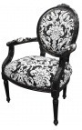 Baroque armchair Louis XVI style with white floral fabric, black wood