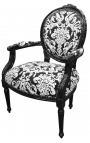 Fauteuil baroque de style Louis XVI tissu motifs floraux blanc et bois noir