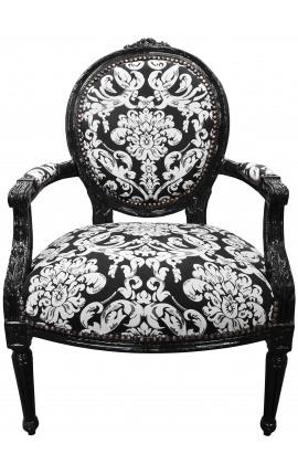 Fauteuil Louis XVI de style baroque tissu motifs floraux blanc et bois noir