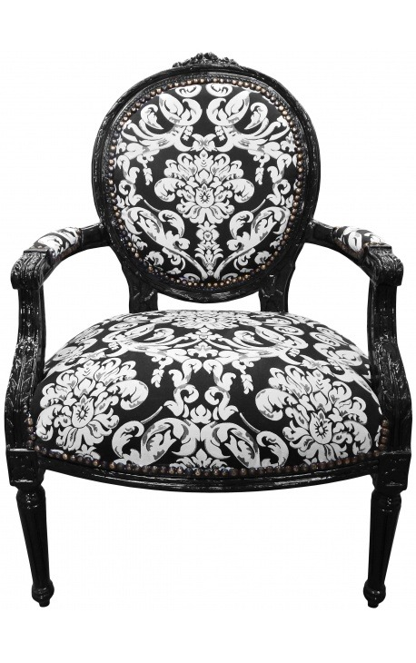 fauteuil baroque de style louis xvi motifs floraux blanc et bois noir. Black Bedroom Furniture Sets. Home Design Ideas