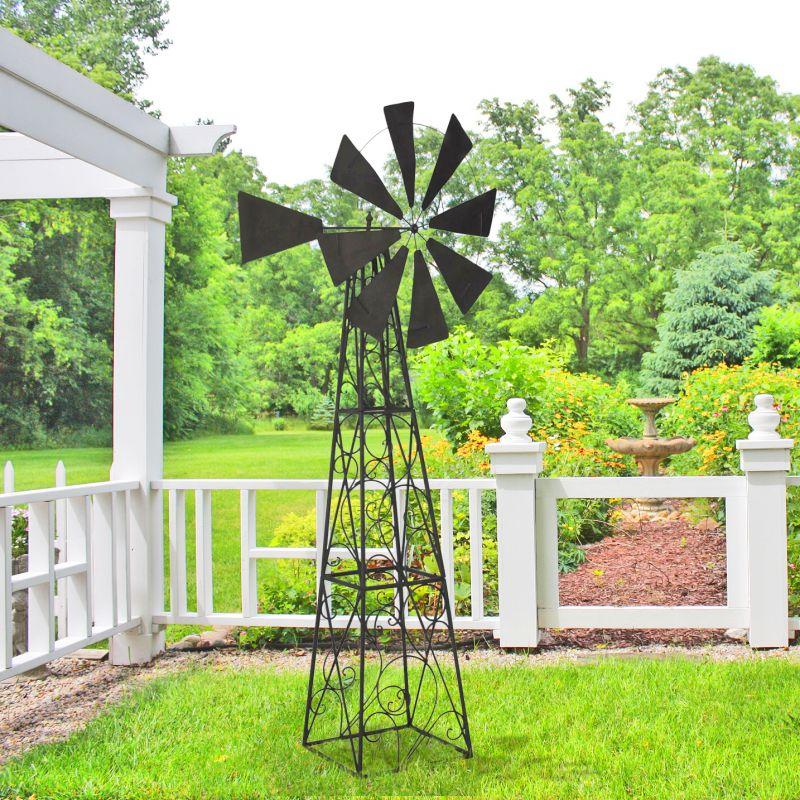 Grande girouette eolienne pour jardin en fer forg for Jardin grande