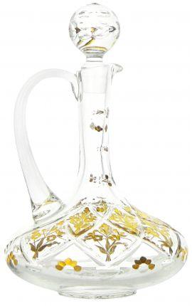 Carafe à décanter avec anse en cristal aux motifs floraux gravés à l'or