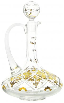 Crystal decanter with handle and floral pattern engraved with gold