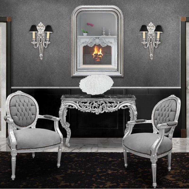 miroir de style louis philippe argent et glace biseaut e. Black Bedroom Furniture Sets. Home Design Ideas