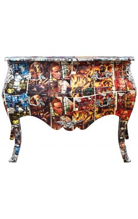 Baroque chest of drawers (commode) of style Louis XV Comics print with 2 drawers