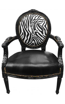 Baroque armchair Louis XVI black leatherette on seat and zebra fabric with black wood