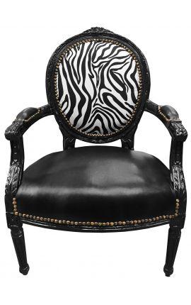 Барокко кресло Louis XVI черный кожзам на сиденье и зебры ткани с черного дерева