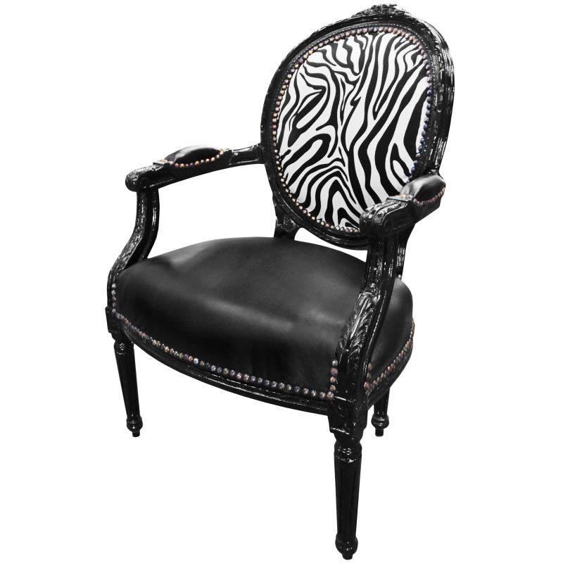 fauteuil baroque de style louis xvi simili cuir noir z bre et bois noir. Black Bedroom Furniture Sets. Home Design Ideas