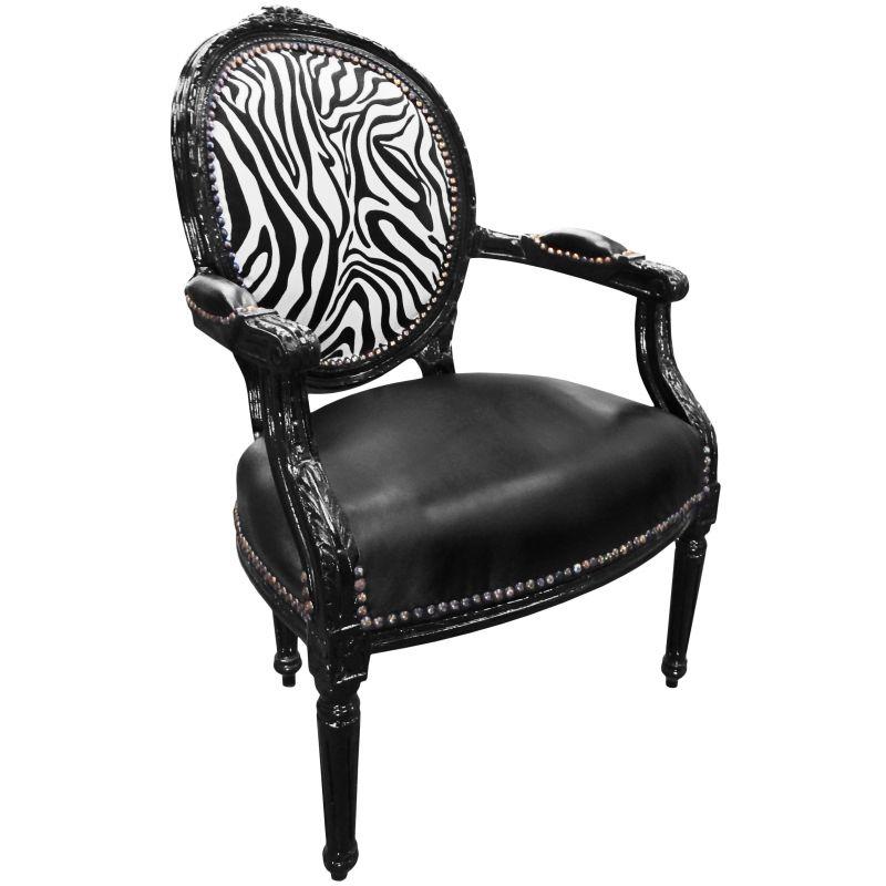 Baroque Armchair Louis Xvi Black Leatherette And Zebra