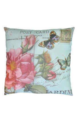 "Cushion ""postcard"" green 40 x 40"