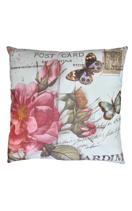 "Cushion ""postcard"" beige 40 x 40"