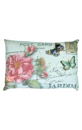 "Cushion ""postcard"" green rectangular 40 x 25"