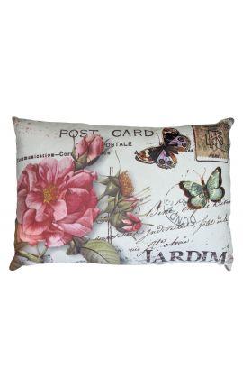 "Cushion ""postcard"" beige rectangular 40 x 25"