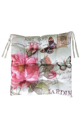 "Cushion for chair ""postcard"" beige 40 x 40"