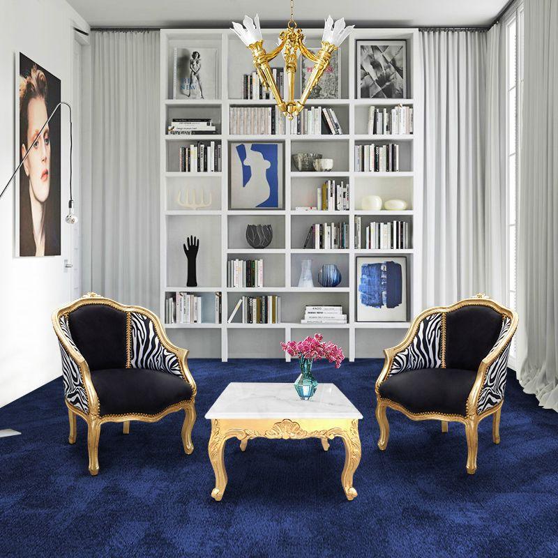 Baroque bergere armchair louis xv black velvet and zebra for Table bergere