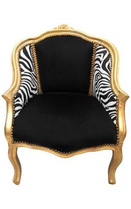 Bergère de style Louis XV tissu velours noir et zèbre avec bois doré