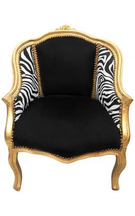 Bergere armchair Louis XV style black velvet and zebra fabric gold wood