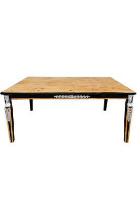 Table basse de style empire loupe d'orme et bronzes argentés
