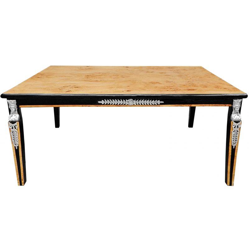 table basse de style empire loupe d 39 orme et bronzes argent s. Black Bedroom Furniture Sets. Home Design Ideas