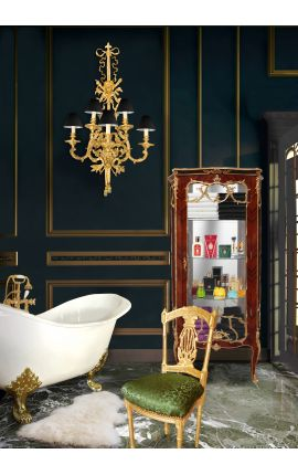 Louis XV стиль витрина с инкрустацией и золоченой бронзы