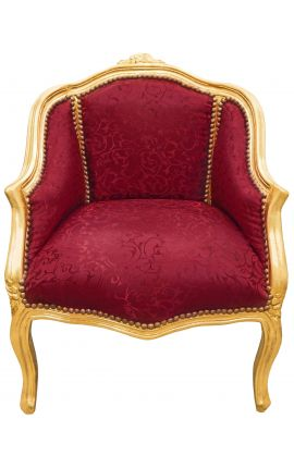 Bergere armchair Louis XV style red satine fabric and gold wood