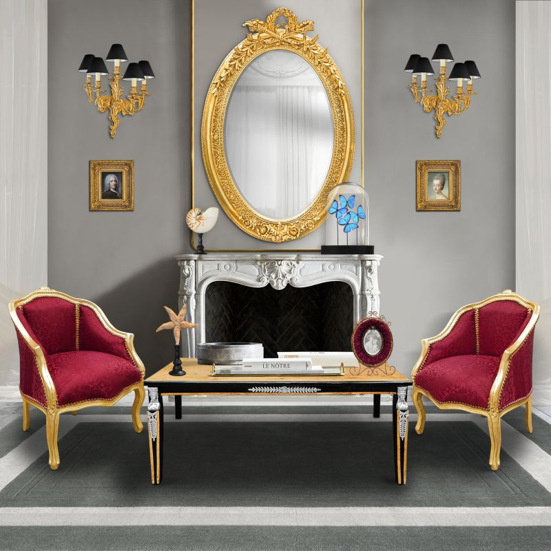 tr s grand miroir baroque ovale dor vertical. Black Bedroom Furniture Sets. Home Design Ideas